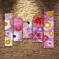 Астры, модульная картина (Цветы), на Холсте син., 80x100 см, (80x18-2/55х18-2/40x18), фото 1