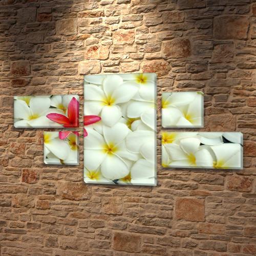 Гавайские Цветочки, модульная картина (Цветы), 60x110 см, (18x35-2/18х18-2/60x35)