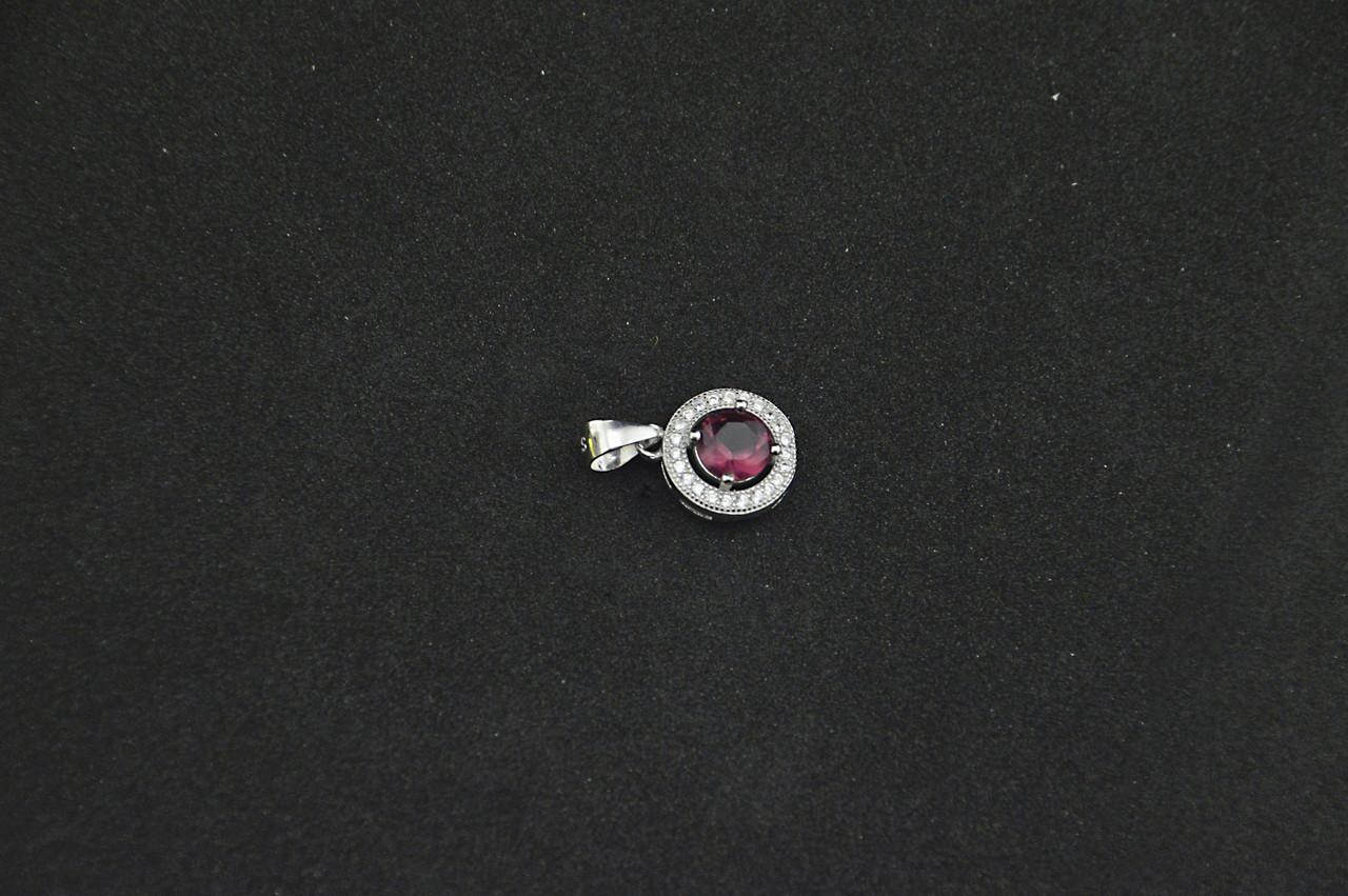 Серебряный кулон с ярким камнем малинового цвета серебро 925 пробы куб. цирконий