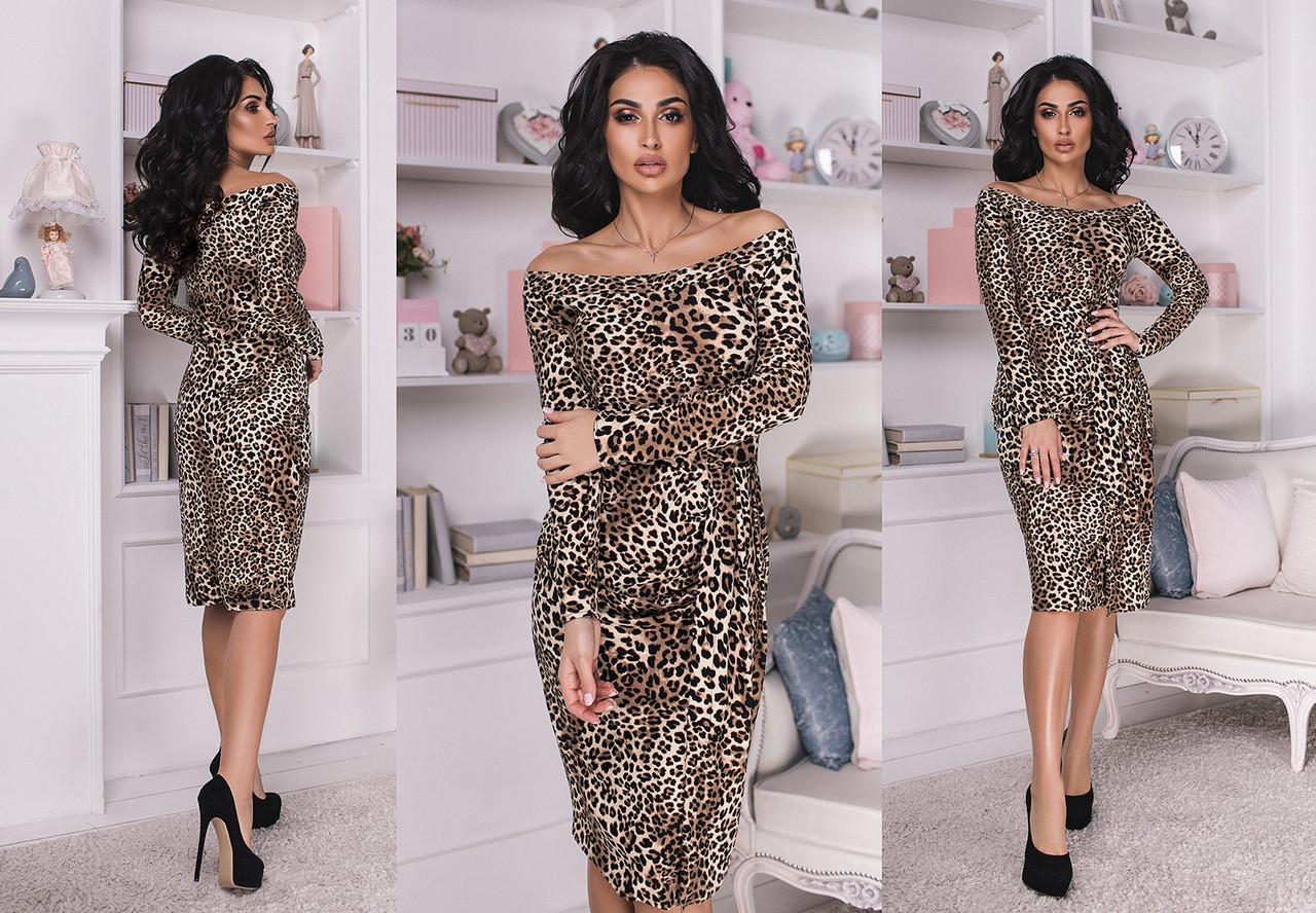 """Элегантное женское платье средней длины 6018 """"Леопард Миди Лодочка"""""""