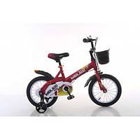 Детский двухколесный велосипед 16 дюймов с мигалкой  и корзиной