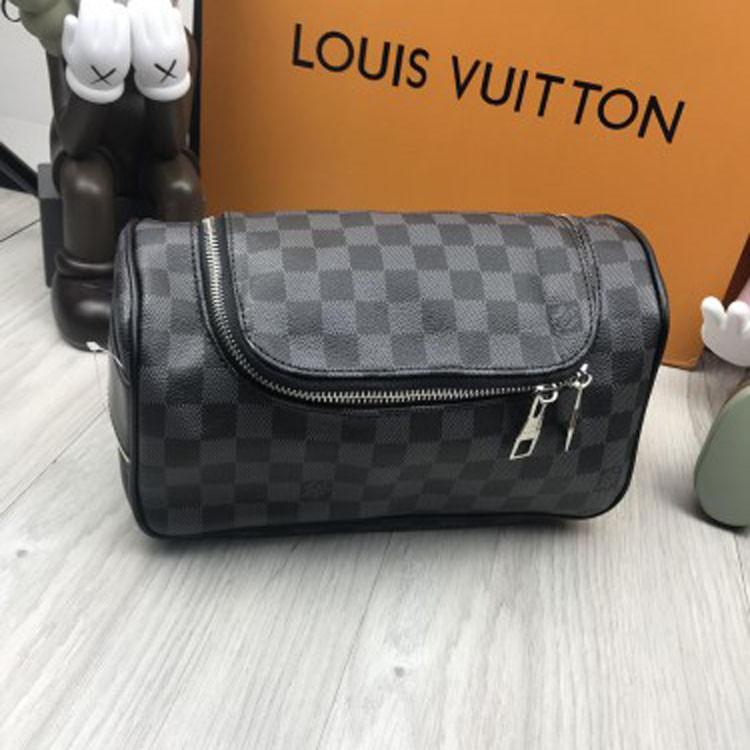 Фирменная мужская барсетка Louis Vuitton серая черная эко кожа качественная в стиле Луи Виттон люкс реплика