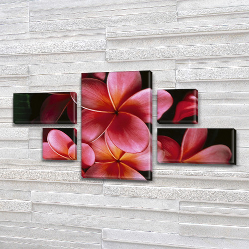 Розовые Цветы, модульная картина на Холсте син., 60x110 см, (18x35-2/18х18-2/60x35)