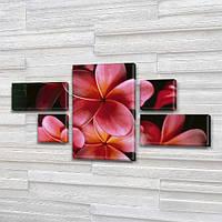 Розовые Цветы, модульная картина на Холсте син., 60x110 см, (18x35-2/18х18-2/60x35), фото 1