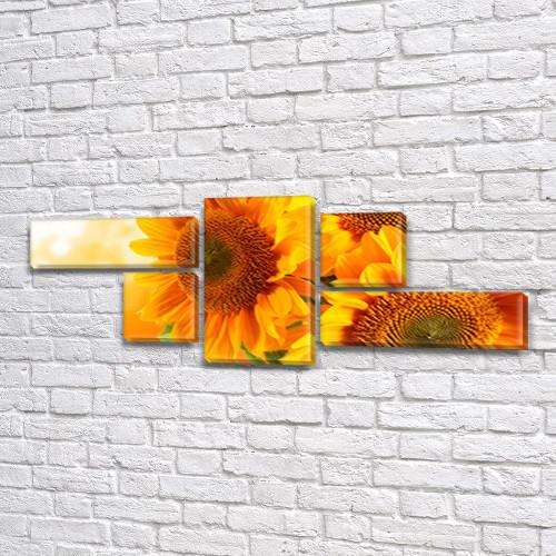 Подсолнухи на Закате, модульная картина (Цветы), на Холсте син., 60x160 см, (18x60-2/25х25-2/60x35)