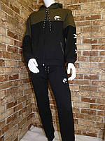 Спортивный костюм для мальчика 13-16 лет хаки с черным цвета на змейке с капюшоном Nike оптом, фото 1