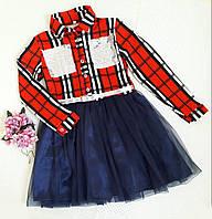 """Платье нарядное """"Милиса"""" на девочку, р. 140, 164, клетка красный-белый+темно синий, фото 1"""