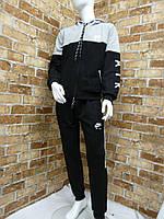 Спортивный костюм для мальчика 13-16 лет серого с черным цвета на змейке с капюшоном Nike оптом