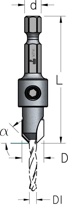 Зенковка со сверлом HSS с плавной спиралью D3,0/9,5