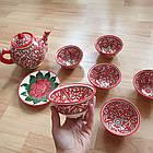 Узбецький чайний сервіз з р. Риштаг, ручна робота. 9 предметів, фото 4