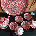 Узбецький чайний сервіз з р. Риштаг, ручна робота. 9 предметів, фото 2