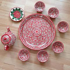 Узбецький чайний сервіз з р. Риштаг, ручна робота. 9 предметів