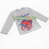 Детский реглан (джепмер, свитшот,футболка с длинным рукавом) р.104 для мальчика ткань 100% хлопок 3695 Серый А