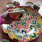 Шикарный узбекский сервиз ручной работы  из г. Риштан, 12 предметов. Узор Адрас (атлас) Икат., фото 9