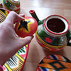 Шикарный узбекский сервиз ручной работы  из г. Риштан, 12 предметов. Узор Адрас (атлас) Икат., фото 7