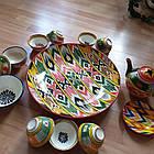 Шикарный узбекский сервиз ручной работы  из г. Риштан, 12 предметов. Узор Адрас (атлас) Икат., фото 5