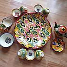 Шикарный узбекский сервиз ручной работы  из г. Риштан, 12 предметов. Узор Адрас (атлас) Икат., фото 3