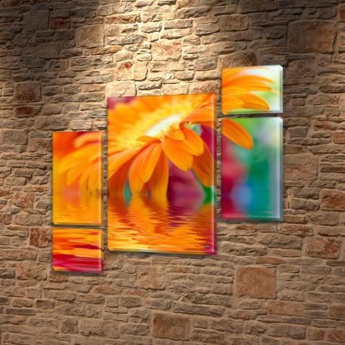Оранжевая Гербера, модульная картина (Цветы) на Холсте син., 85x85 см, (40x20-2/18х20-2/65x40)