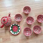 Узбекский чайный сервиз из 8 предметов, Риштан, ручная работа., фото 5