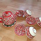 Узбекский чайный сервиз из 8 предметов, Риштан, ручная работа., фото 4