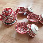 Узбекский чайный сервиз из 8 предметов, Риштан, ручная работа., фото 3