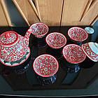 Узбекский чайный сервиз из 8 предметов, Риштан, ручная работа., фото 2
