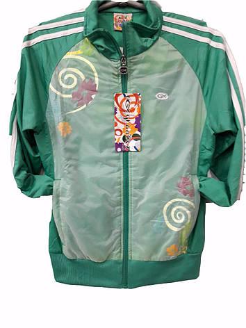 Костюм спортивный подростковый для девочек Grandex зеленый с узорами, фото 2
