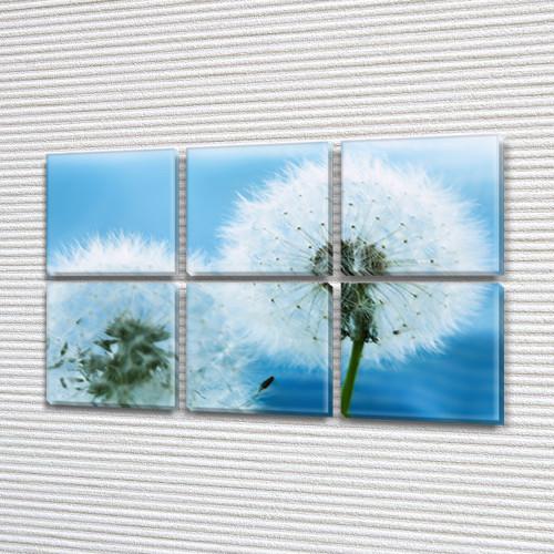 Голубые Одуванчики, модульная картина (Цветы), 52x80 см, (25x25-6)
