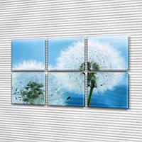 Голубые Одуванчики, модульная картина (Цветы), 52x80 см, (25x25-6), фото 1