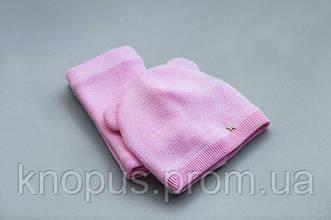 Комплект для девочки розовая полушерстяная  шапка на хлопковой подкладке и снуд, Модный карапуз, размер  46