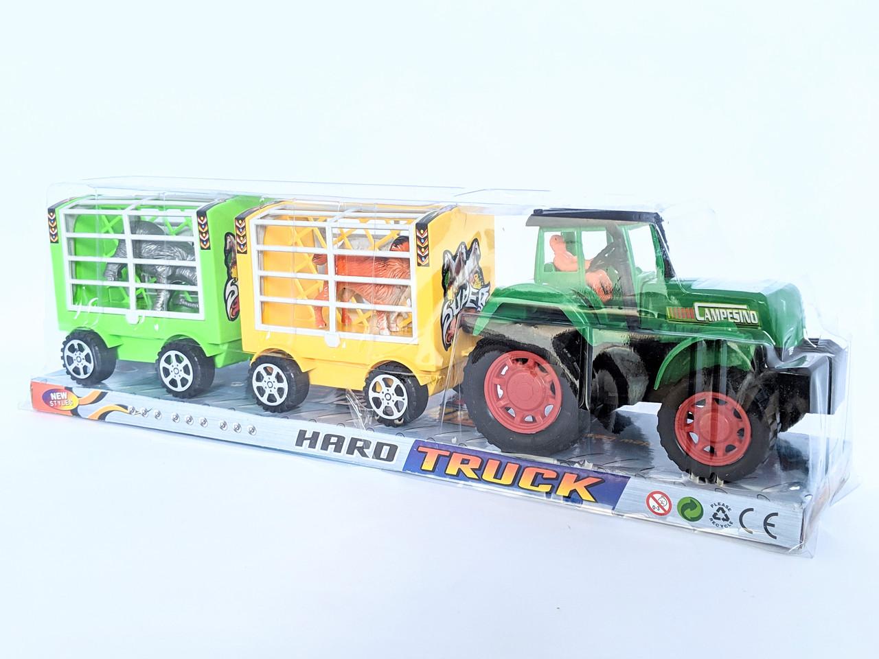 Трактор с прицепом, животные