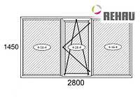 Балконная рама 2800*1450 Rehau