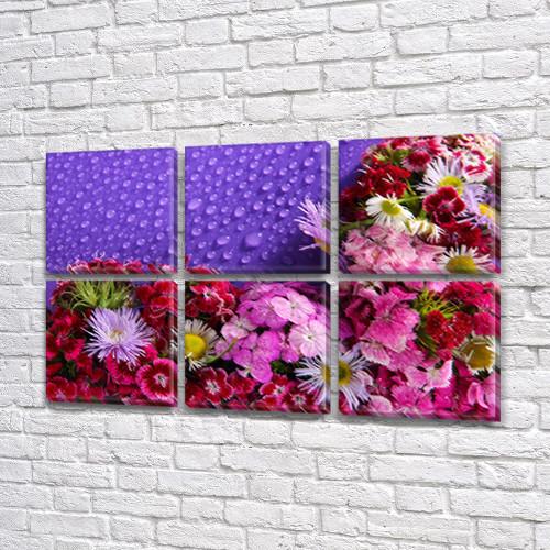Летний сад и капли росы, модульная картина (Цветы), на Холсте син., 52x80 см, (25x25-6)