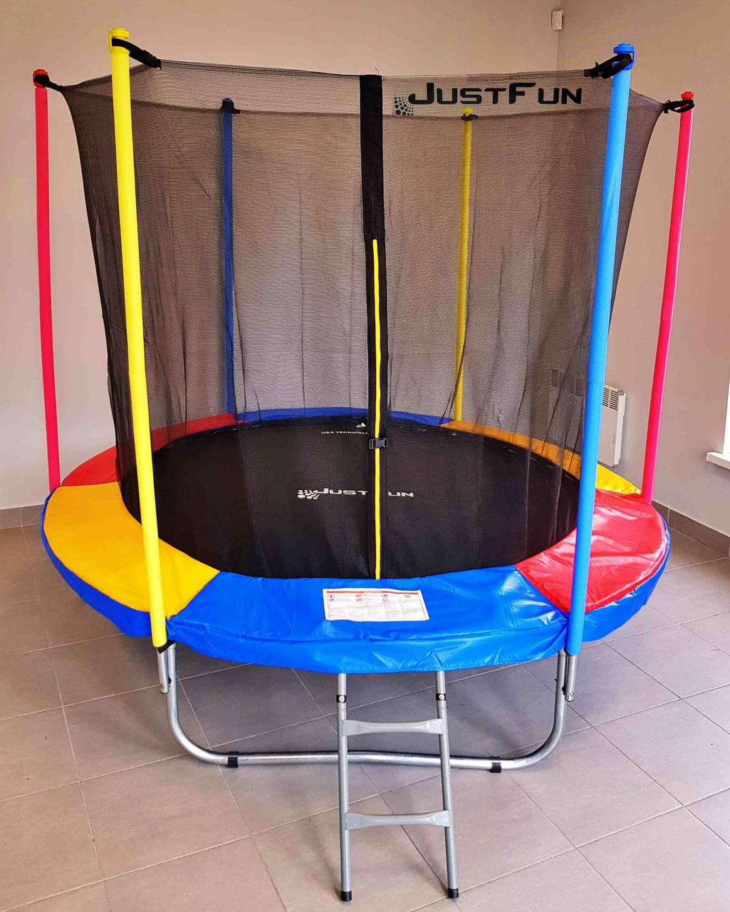 Батут Just Fun Multicolor 244 см (8 FT) с внутренней сеткой и лестницей (Спортивный батут)