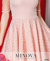 Кокетливое нежное платье с сеткой в горошек размеры S-L, фото 3