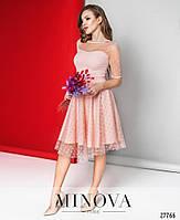 Кокетливое нежное платье с сеткой в горошек размеры S-L, фото 2