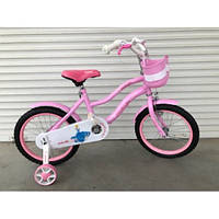Детский двухколесный велосипед  16 дюймов с корзинкой розово-белый