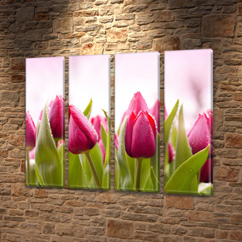 Розовые тюльпаны Модульная картина на Холсте син., 65x80 см, (65x18-4)