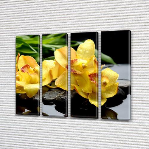 Желтые Орхидеи, модульная картина (Цветы) на Холсте син., 65x80 см, (65x18-4)