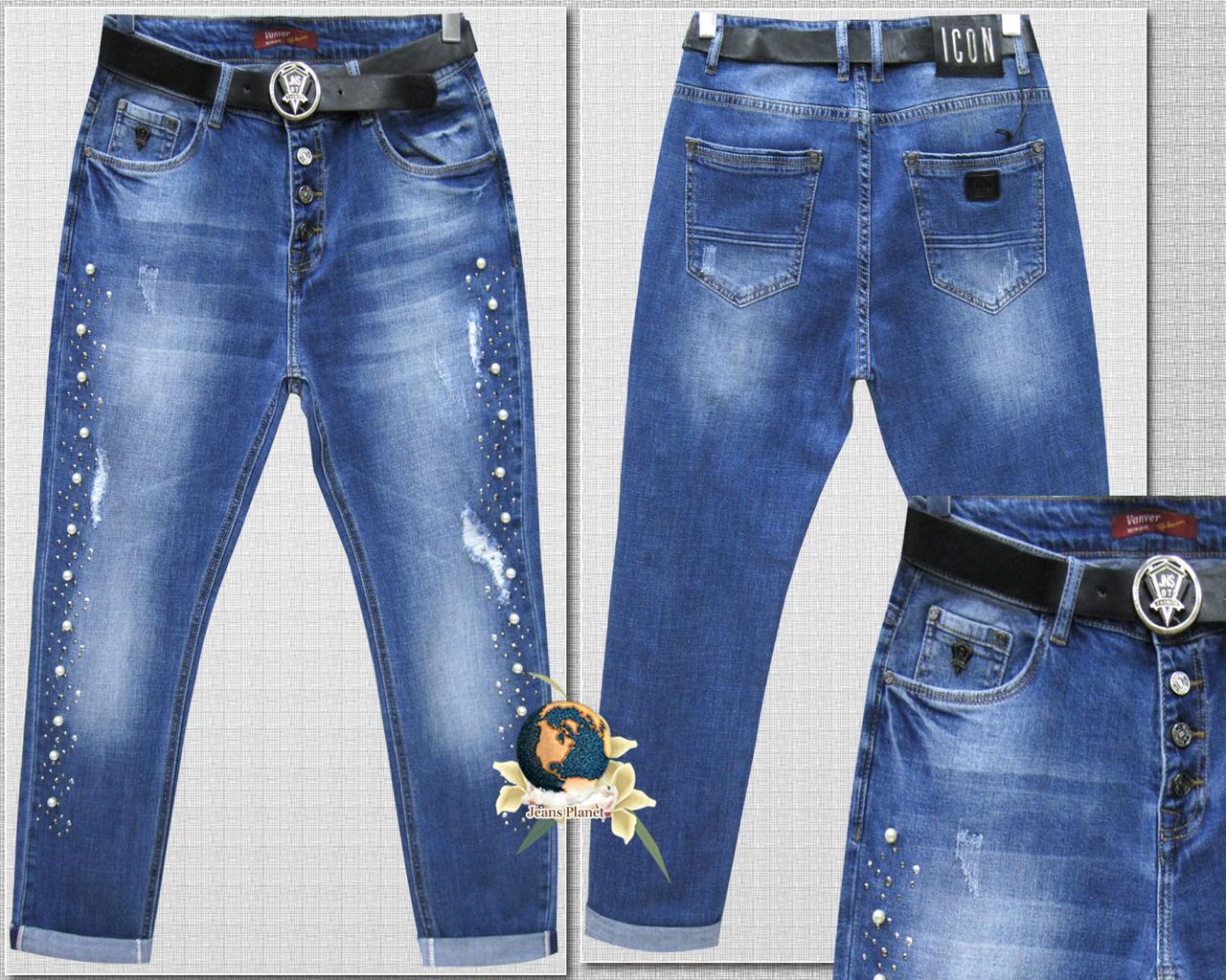 608c4d5a822 Модные женские джинсы баталы рваные с камнями и стразами - Jeans Planet  -джинсовая одежда для