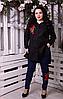 Сорочка туніка з вишивкою троянди для пишних жінок, з 48-82 розмір