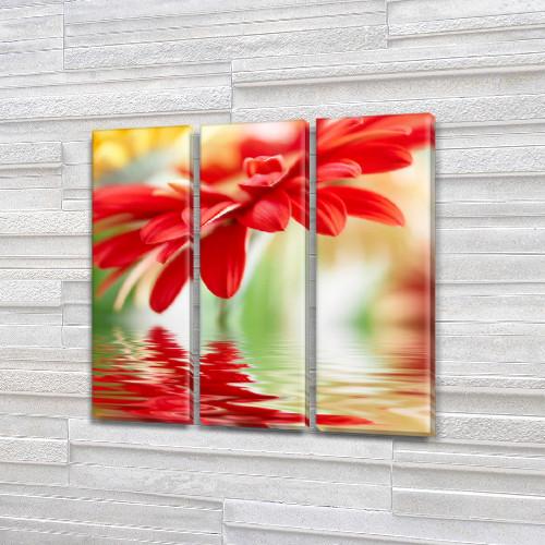 Цветочное отражение, модульная картина (Цветы), на Холсте син., 65x65 см, (65x20-3)