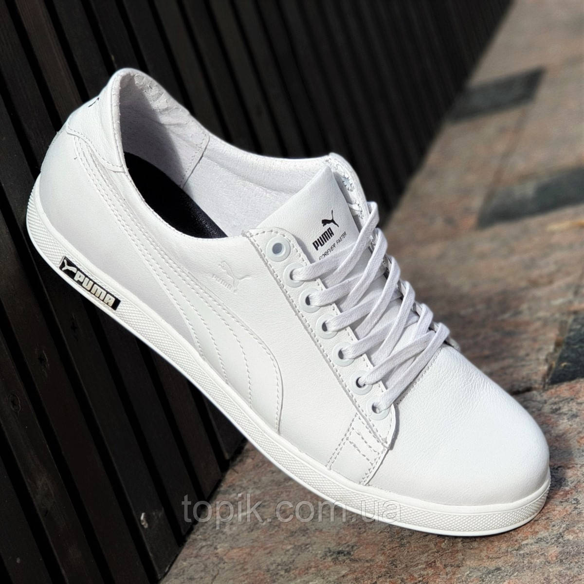Белые мужские кеды, кроссовки, мокасины кожаные, белая подошва, трендовые на каждый день (Код: 1376)