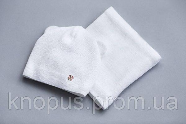 Комплект  белая полушерстяная  шапка на хлопковой подкладке и снуд, Модный карапуз, размер  46