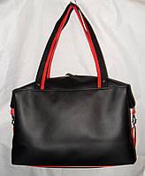 Спортивная сумка 012431 черная гладкая эко-кожа ручки ремешком, фото 1