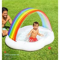 Детский надувной бассейндля малышей по типу грибс навесом - крышей Радуга, 142-119-184 см, intex57141