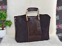 Красивая кожаная сумка с замшевым декором коричневая