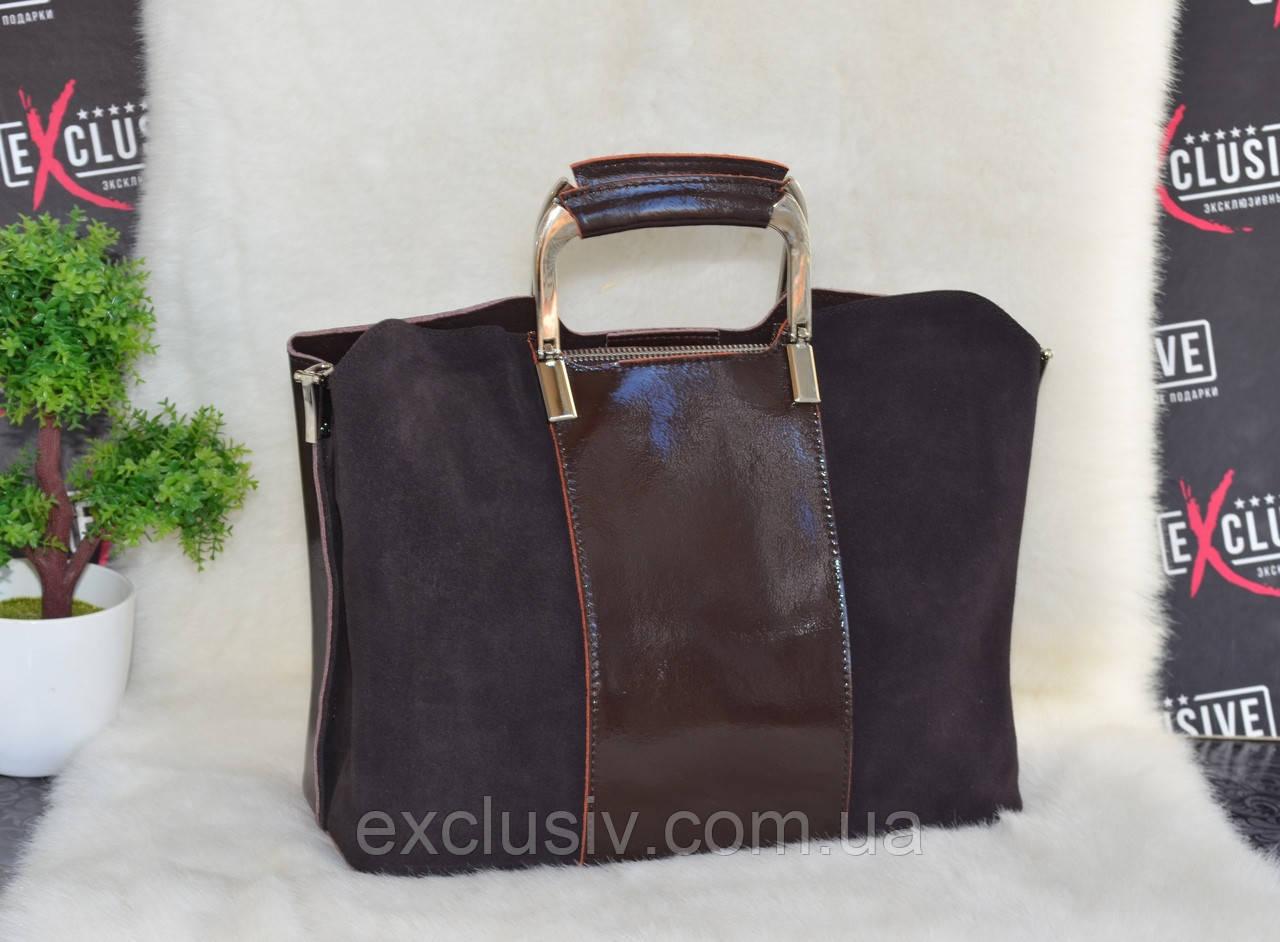dde2248c680e Красивая кожаная сумка с замшевым декором коричневая: продажа, цена ...
