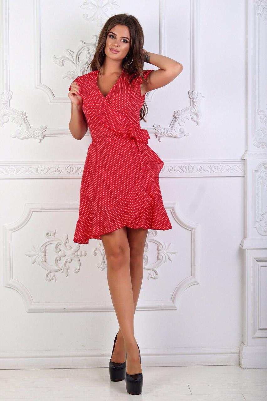 Женское летнее платье в горошек