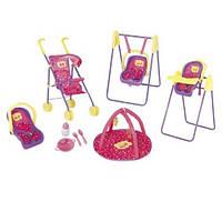 Набор аксессуаров Peppa для кукол - ДЕЛЮКС (коляска, коврик, набор посудки, кресло-трансформер)